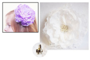 + White Large Peony Flower Hair Clip Pin Barrette