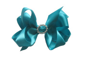 PrettyBoutique 11cm Girls Rhinestone Satin Hair Bow Alligator Clip