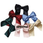 6 Pcs Large Big Huge 21cm Soft Silky Hair Bow Clip Lolita Party Oversize Handmade Girl French Barrette Style Hair Clips