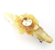Genuine Natural horn - Hairclip barrette - Double flower with rhinestones