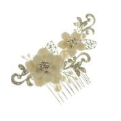 Genevieve. Crystal & Pearl Wedding Hair Comb 10cm (Silver)