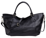 SAIERLONG New Womens Black Fashion Soft Leather Handbags Shoulder Bags