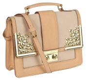 EyeCatch - Womens Elegant Cream Peach Faux Leather Handbag Ladies Designer Shoulder Bag