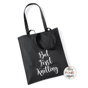 But First Knitting 100% Cotton Tote Bag Project Yarn Gift Present