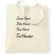 Swim Bike Run Hard Tri Harder Triathlon Athlete Sport Shopping Carrier Tote Bag