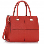 Womens Cheque Print Designer Faux Leather Celebrity Style Tote Handbag