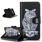 Galaxy A3 Case,Galaxy A3 Case Wallet,ikasus Beautiful Painted Pattern Flip PU Leather Fold Wallet Pouch Case Premium Leather Wallet Flip Case with Stand Credit Card ID Holders Case Cover for Samsung Galaxy A3 SM-A300F (2014),Black Owl