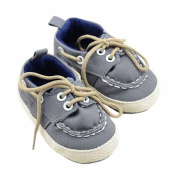 Lyshi Baby Soft Sole First Walking Shoes Toddler Lace Up Canvas Sneakers