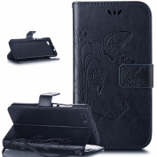 HUAWEI P8 LITE Case,HUAWEI P8 LITE Cover,ikasus Embossing Butterfly PU Leather Fold Wallet Pouch Case Premium Leather Wallet Flip Stand Credit Card Holders Case Cover for HUAWEI P8 LITE,Navy Blue