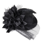 RUIMIO Mini Top Hat on Headband with Sequin Trim and Netting - One Size