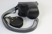 Full Protection Bottom Opening Version Protective Real Leather Camera Case Bag with Tripod Design Compatible For Sony ILCE6300 a6300 with 16 - 50mm Lens with Shoulder Neck Strap Belt and Storage Card Case Black