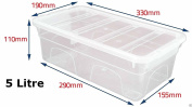 Set of 5 Crystal Clear Plastic Storage Box Boxes With Lids UK BRITISH MADE Home Office Stackable