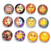 Soleebee Aluminium Glass Sun Snap Buttons Jewellery Charms Pack of 12pcs 18mm