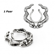 1 Pair Stainless Steel Fake Nipple Shield - Clip-on No Piercing Gothic Various Designs