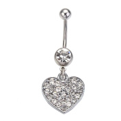 Heart Belly Button Navel Ring with Clear Crystal Surgical Steel Bar 14 Gauge