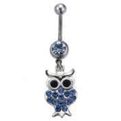 Dangle Belly Button Ring Owl Clear Crystal Navel Ring