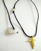 Womens Christian Orthodox Greek Religious Pendant Necklace with Crystal Cross / 30