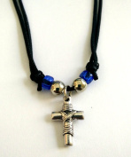 Two-Sided Christian Orthodox Greek Religious Pendant Necklace with Metallic Cross / 21