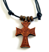 Christian Orthodox Greek Religious Pendant Necklace with Wood Cross / 18