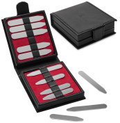 12 Pc Gift Set Metal Collar Stays Stiffeners in Bonded Leather Gift Box by Puentes Denver