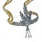 Santfe Luxury Bling 1920s The Great Gatsby Silver-Tone Leaf Simulated Pearl Wedding Tiara Headpiece Headband Yellow Ribbon