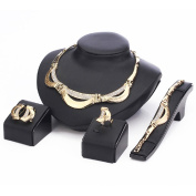 Women Necklace Jewellery Set 5 pieces Gold Plated Crystal Double Chain African Style for Costume Vintage Fashion Wedding