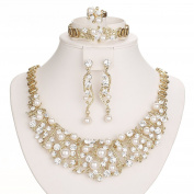 Gold Plated Luxury Crystal and Simulated-Pearl Beads Necklaces Jewellery Set 5 Pieces