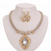 Moochi 18K Gold Plated Crystal Pedant Necklace Earrings Jewellery Set Shinning Luxury Costume Show Wedding Party