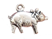 Precious Little Pig Piglet with Bow Antique Finish Pendant Necklace by Pashal