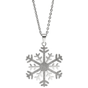 Jobo Choker Necklace Stainless Steel Snowflake Pendant Necklace bicolor with Glitter 42 cm