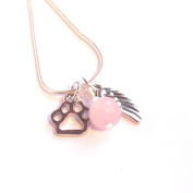 Rose Quartz Gemstone Necklace with Angel Wing and Cat / Dog Paw print