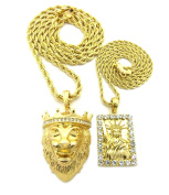 Statue of Liberty and King Lion Pendant Set w/ Rope Chain Necklaces in Gold-Tone