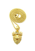 Stone Stud Crown King Lion Micro Pendant w/ Chain Necklace