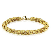Golden Stainless Steel Up of an Interlocking Link Chain Bracelet for Men and Women