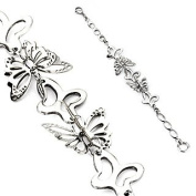 Women's 3D Butterfly Bracelet Silver Stainless Steel Bracelet Men's Stainless Steel Bracelet Bracelet Surgical Steel)