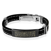 Prayer Black Rubber Stainless Steel Bracelet with ID Plate Stainless Steel for Men and Women