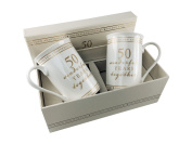 50th Golden Wedding Anniversary Gift Pair Of Sentiment Mugs Gift Boxed