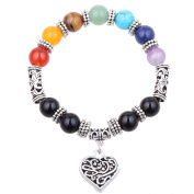 Fashion Originality Natural Stone Seven chakras Bead Antique Silver Hollow Pattern Love Elastic Rope Stretch Bracelet