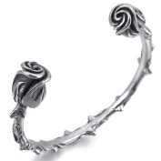 MENDINO Mens Unique Barbed Roses Biker Silver Balck Stainless Steel Bracelet Cuff Bangle