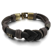 MENDINO Mens Infinity Symbol Tribal Braided Black Genuine Leather Rope Bracelet with Velvet Bag