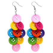 Multi-Coloured Bright Diamond Cluster Button Drop Earrings