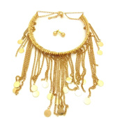 Women's Bohemian Dangling Coin Tassel Necklace and Ball Earring Set in Gold-Tone