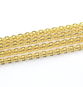 1M Open Link Plated Gold Cable Chain For Jewellery Making 3x2mm