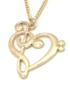 Amazing Musical Note TREBLE CLEF & BASS In Shape Of HEART Gold Colour