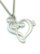 Amazing Musical Note TREBLE CLEF & BASS In Shape Of HEART - UK Stock