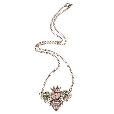 Retro Steampunk Gear Bee Pendant Chain Necklace Vintage Jewellery Antique Copper