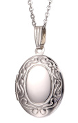 Paialco Trend Girl's Silver Oval Locket Pendant Necklace 46cm Enamel Pink