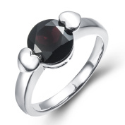 Hutang Jewellery 925 Sterling Silver Natural Black Garnet Solitaire Ring