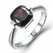 925 Sterling Silver Natural Black Garnet Solitaire Ring