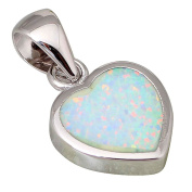 High quality suppliers 925 sterling silver jewellery Fashion Jewellery Heart White Fire Opal pendants P040